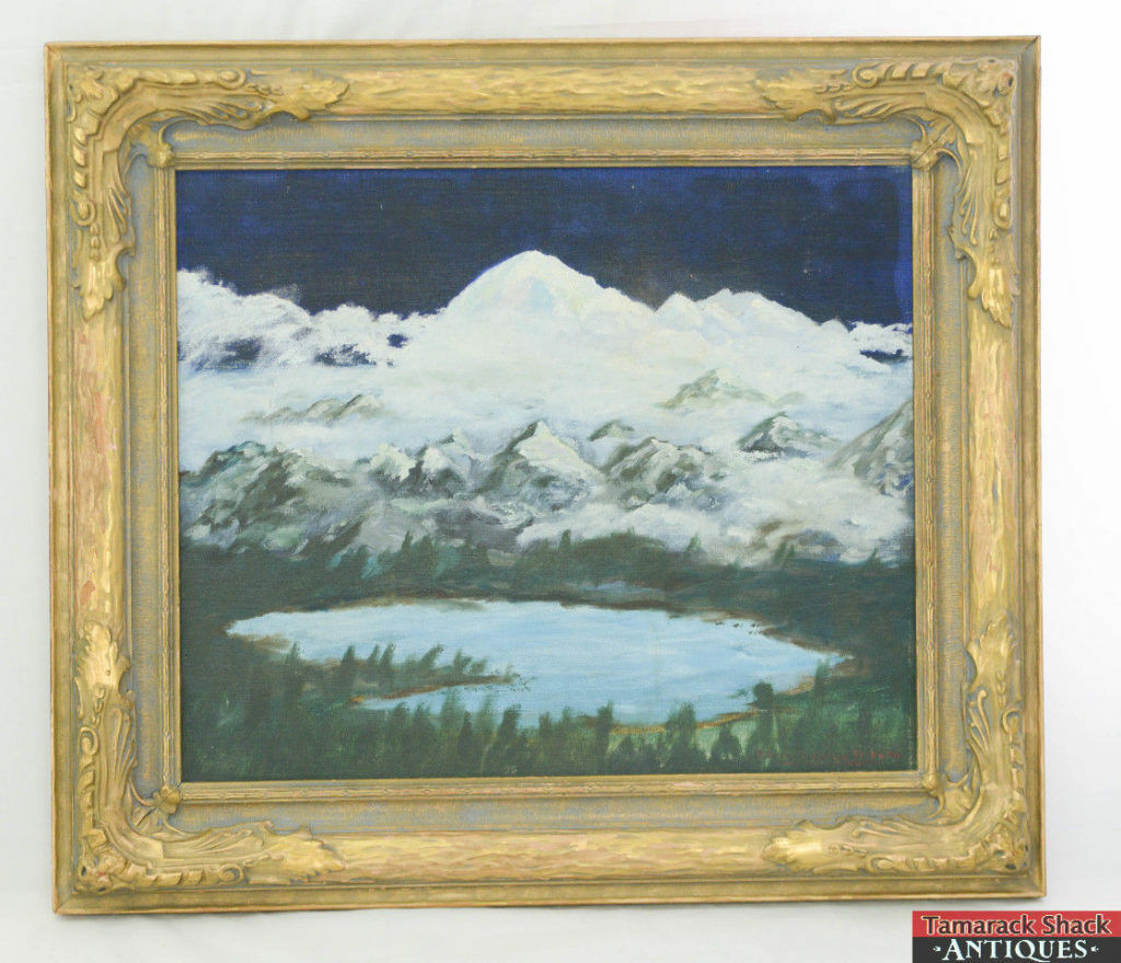 Antique Original Oil Painting in Frame Glacier Lake & Mountains ...