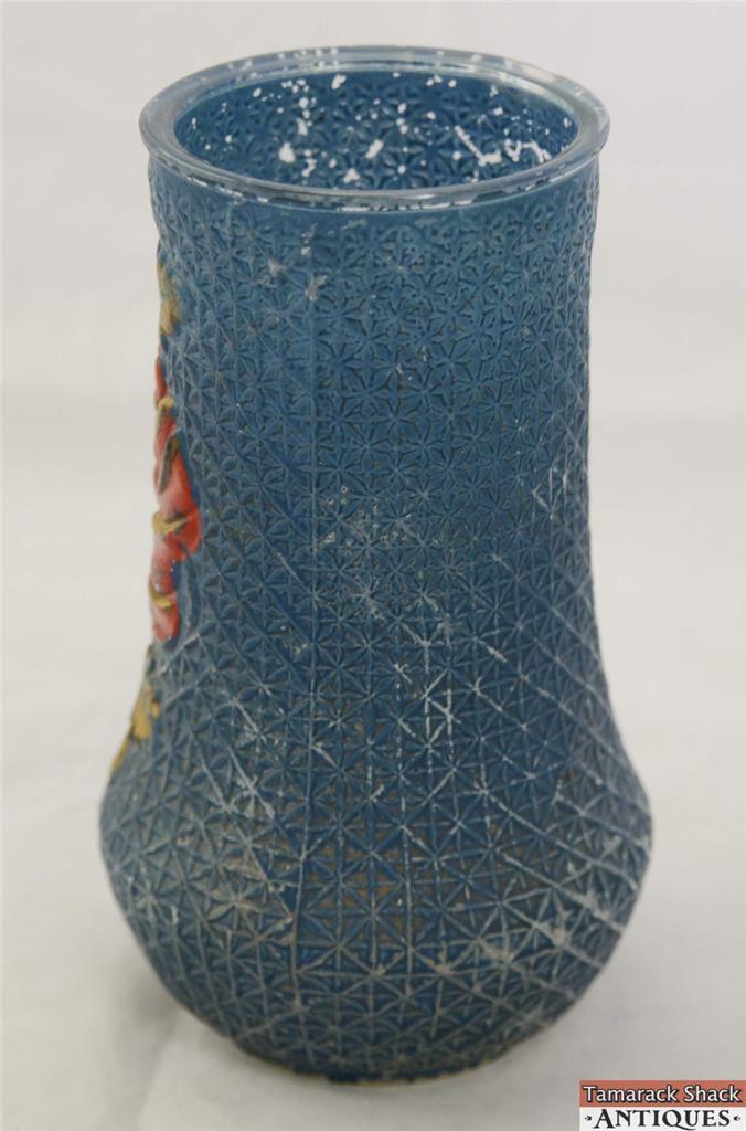 Crackle Blue Rose Goofus Glass Vase Rare Spring Flower Antique