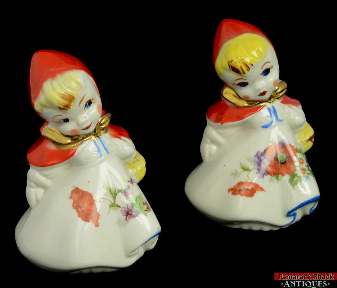 Pair Vintage Hull Little Red Riding Hood Basket Poppy Salt Pepper