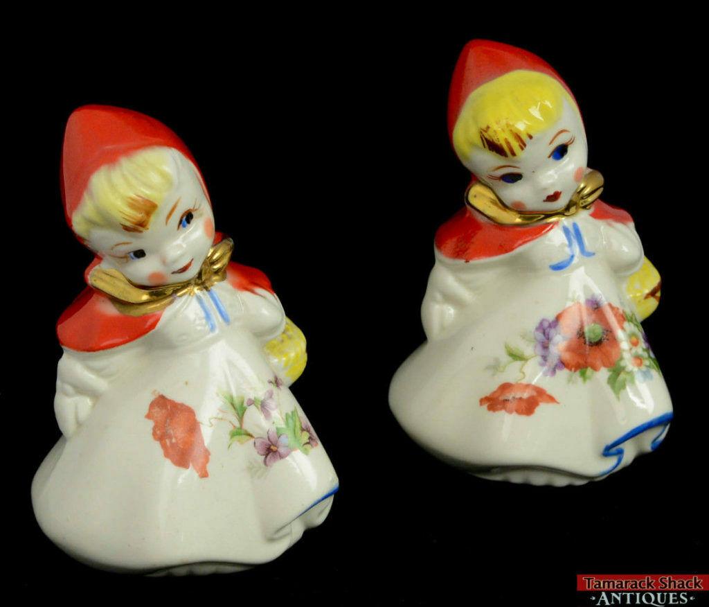 Pair Vintage Hull Little Red Riding Hood Basket Poppy Salt Pepper