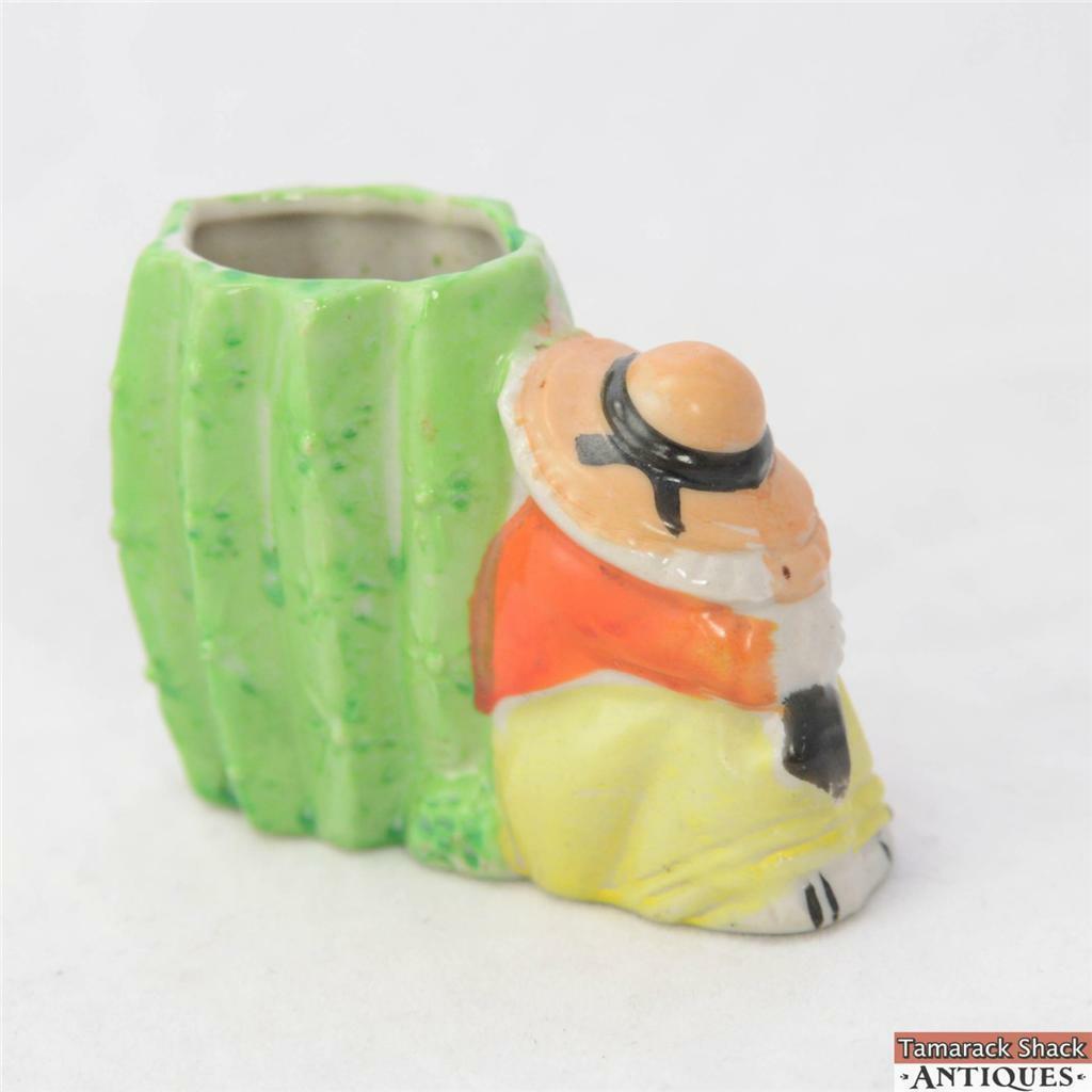 Vtg Sleeping Mexican Cactus Napping Sombrero Porcelain Toothpick Holder Japan Tamarack Shack