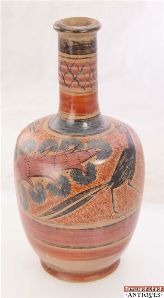 Vintage 105 Art Pottery Vase Earth Tones Large Black Bird Red Tree