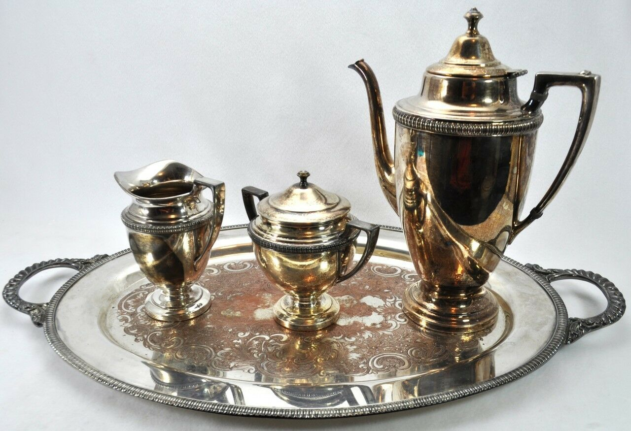 Vintage Crescent Silverplate Silver On Copper 4pc Coffee