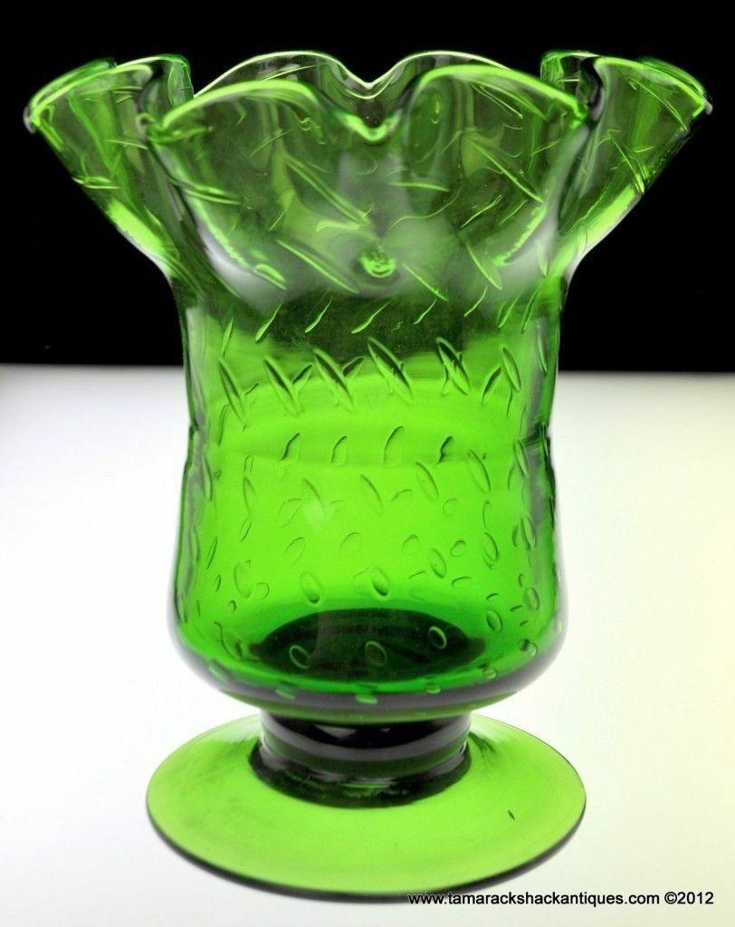 Leaf green footed art glass vase strawberry seed bubbles ruffled leaf green footed art glass vase reviewsmspy