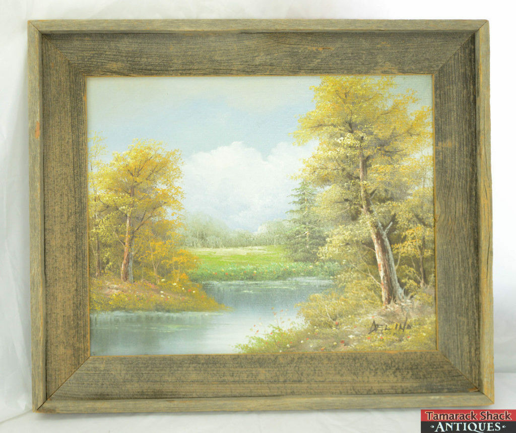ORIGINAL-Oil-Painting-by-Well-Known-Artist-DELINO-Pasture-wPond-Barnboard-Frame-361594602221.jpg