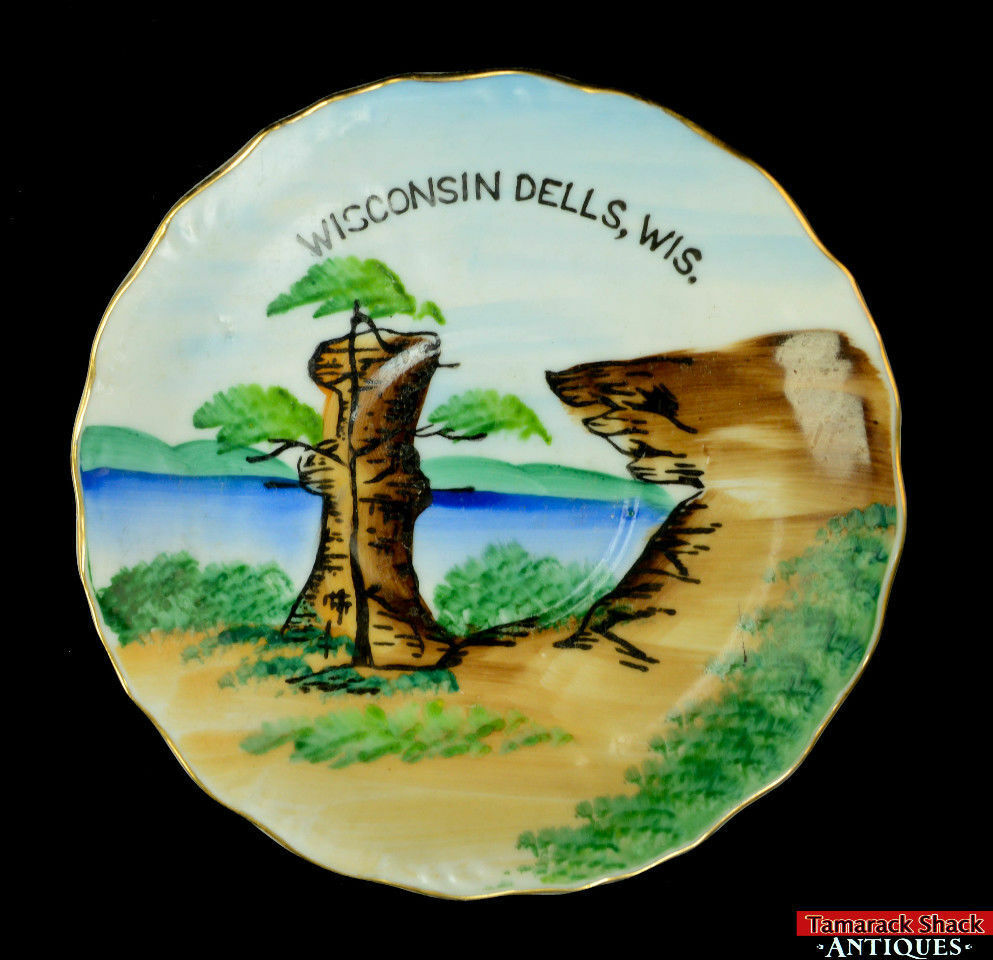 Pair-Souvenir-Wisconsin-Dells-Saucer-Pedestal-Plate-Landmark-Narrow-Chimney-Rock-291841826501-2.jpg
