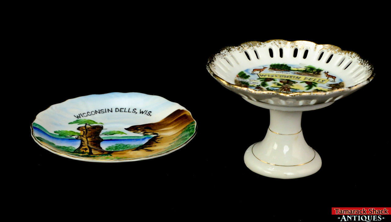 Pair-Souvenir-Wisconsin-Dells-Saucer-Pedestal-Plate-Landmark-Narrow-Chimney-Rock-291841826501.jpg