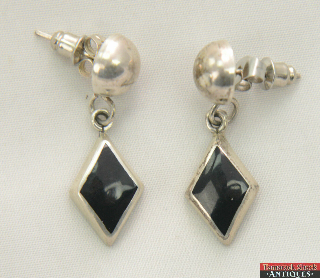 Pair Vintage Sterling Silver Post Earrings Mexico On Drop Diamond Onyx 14g