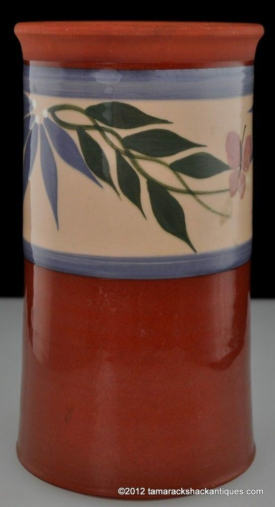 Primitive Clay Pot Studio Art Pottery Pink Butterfly Leaf Blue Band