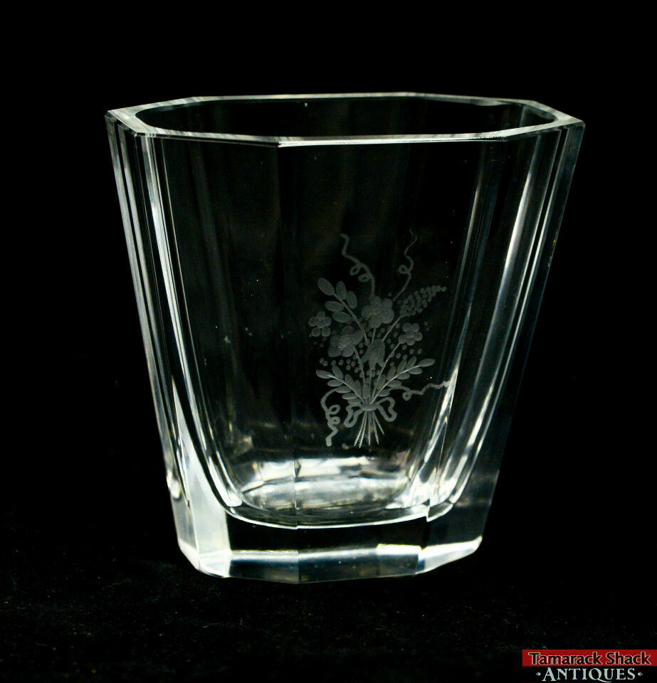 Vintage Signed Kosta Boda Etched Glass Floral Bouquet