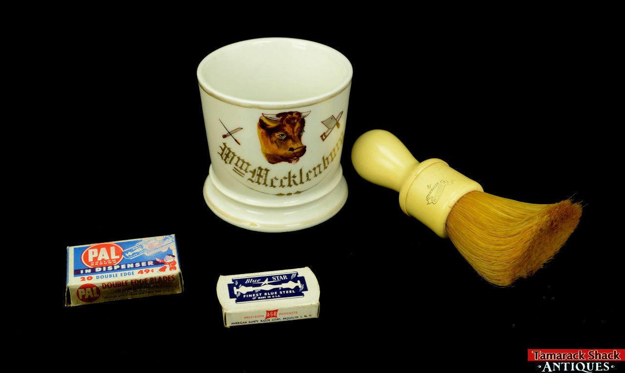 19thC-Antique-Porcelain-Occupational-Butcher-Shaving-Mug-w-Brush-Blades-L8Y-361680179992-2.jpg