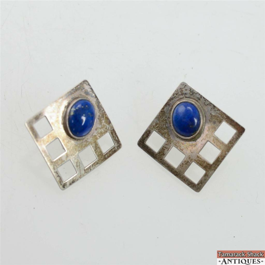 Pair Of Vintage Lapis Marked Sterling Silver Screw Back Earrings Square  Modern