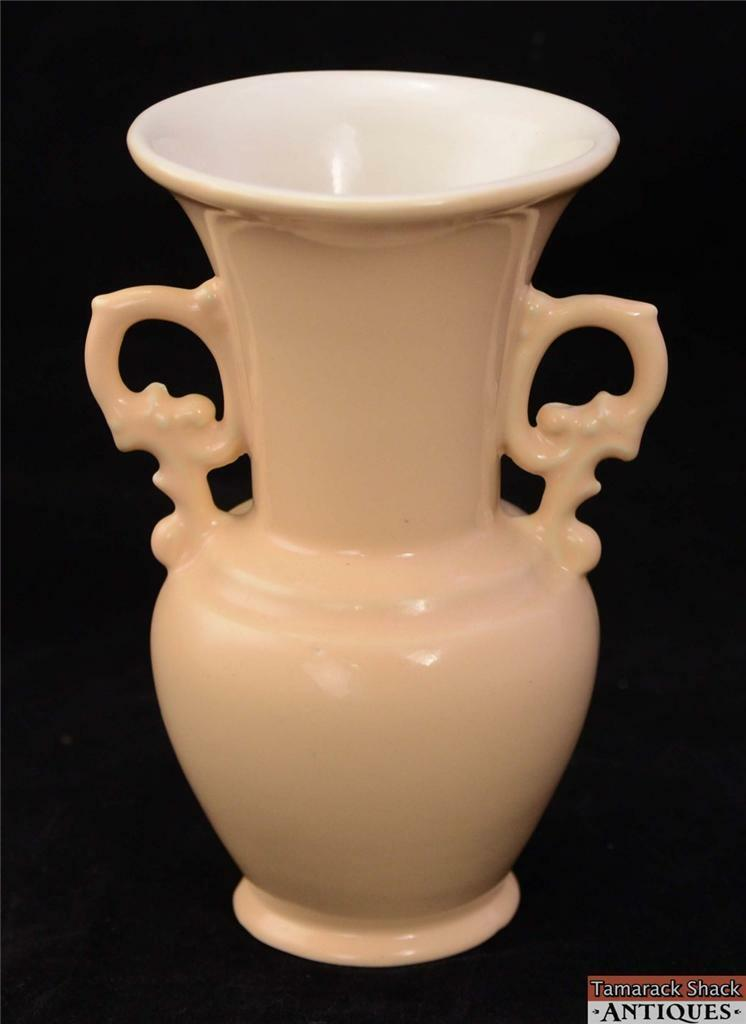 Vintage Abingdon Usa Pottery 7 Quot Vase Peach Handled Art Deco 1940s 7 Quot Stamped Tamarack Shack