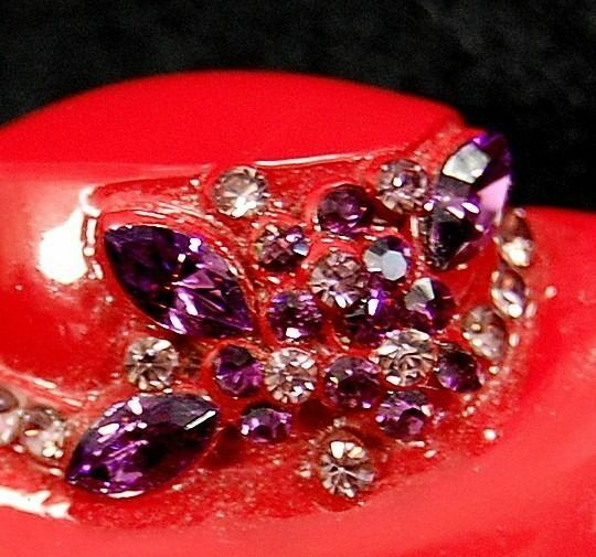Vintage brimmed ladies red hat society purple rhinestone for Red hat bling jewelry