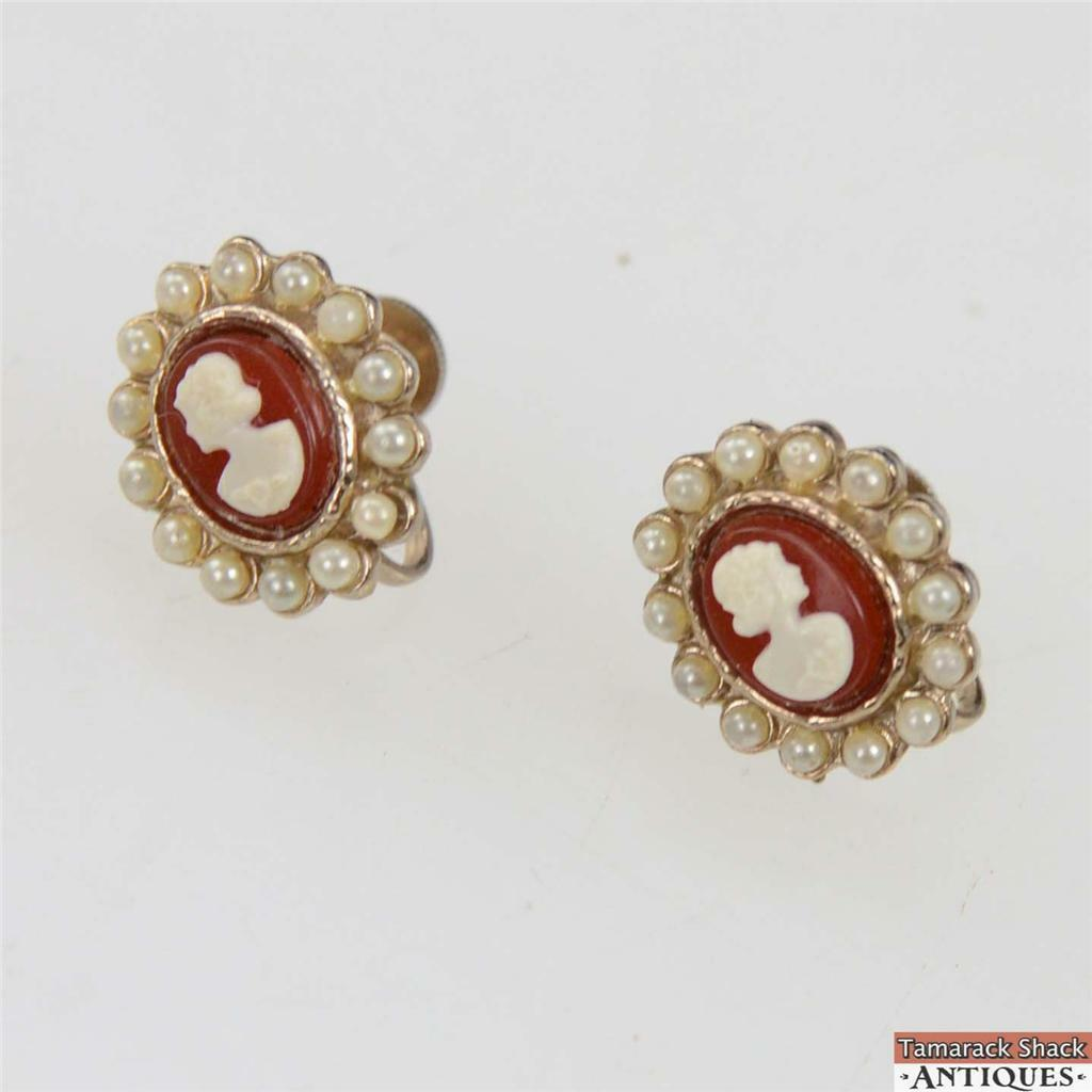 b4fc24a7f Vintage Carved Cameo Faux Pearl Screw Back Earrings Gold Toned 3/4 ...