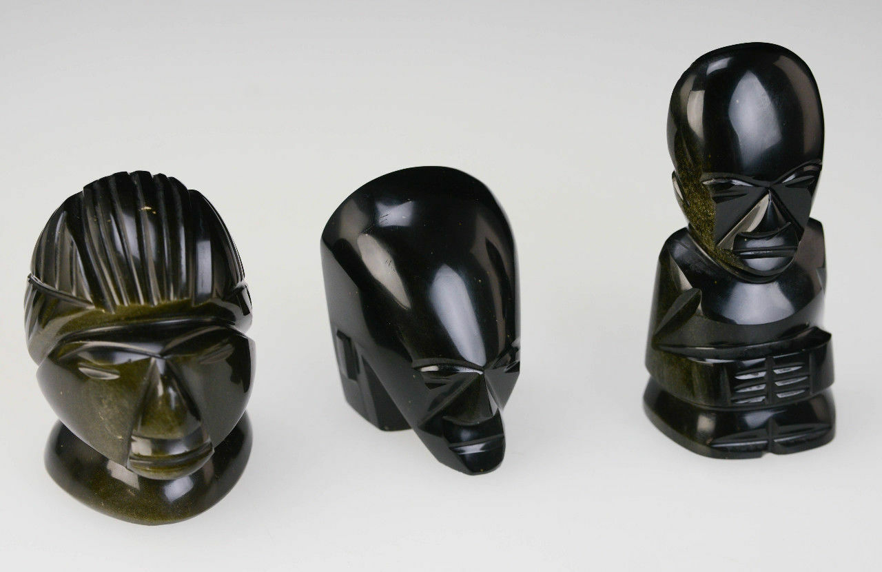 3-Unique-Rare-Tribal-Gold-Shimmer-Dark-Stone-Glass-African-Paperweight-Heads-L2Z-291838268963-2.jpg