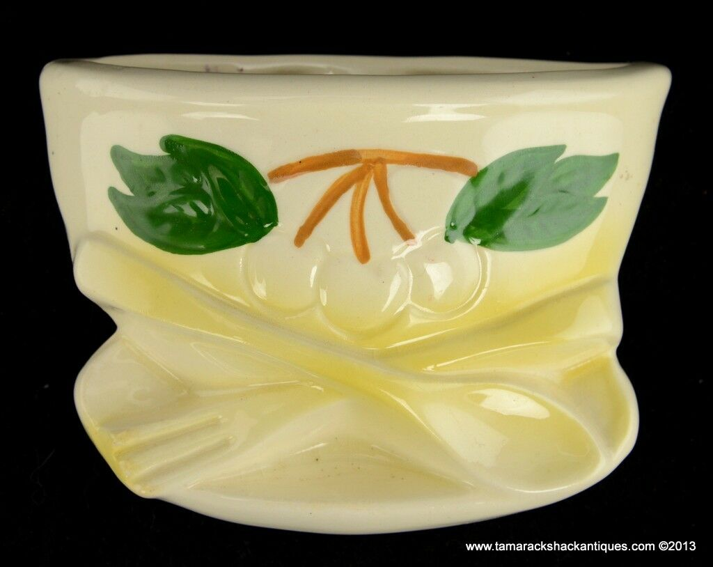 Art Pottery Wall Pocket Bowl Cherries Yellow Spoon & Fork Made in ...