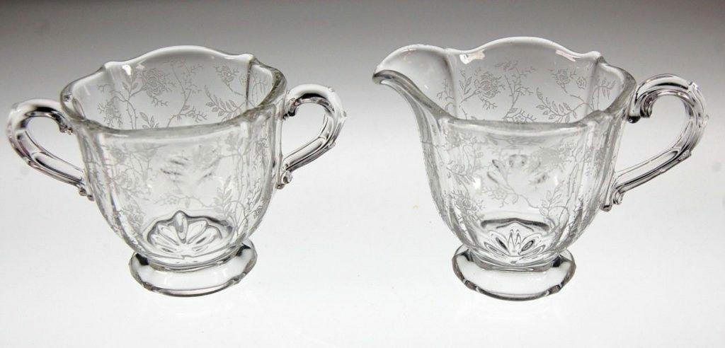 Fostoria Chintz Baroque Creamer Sugar Bowl Set