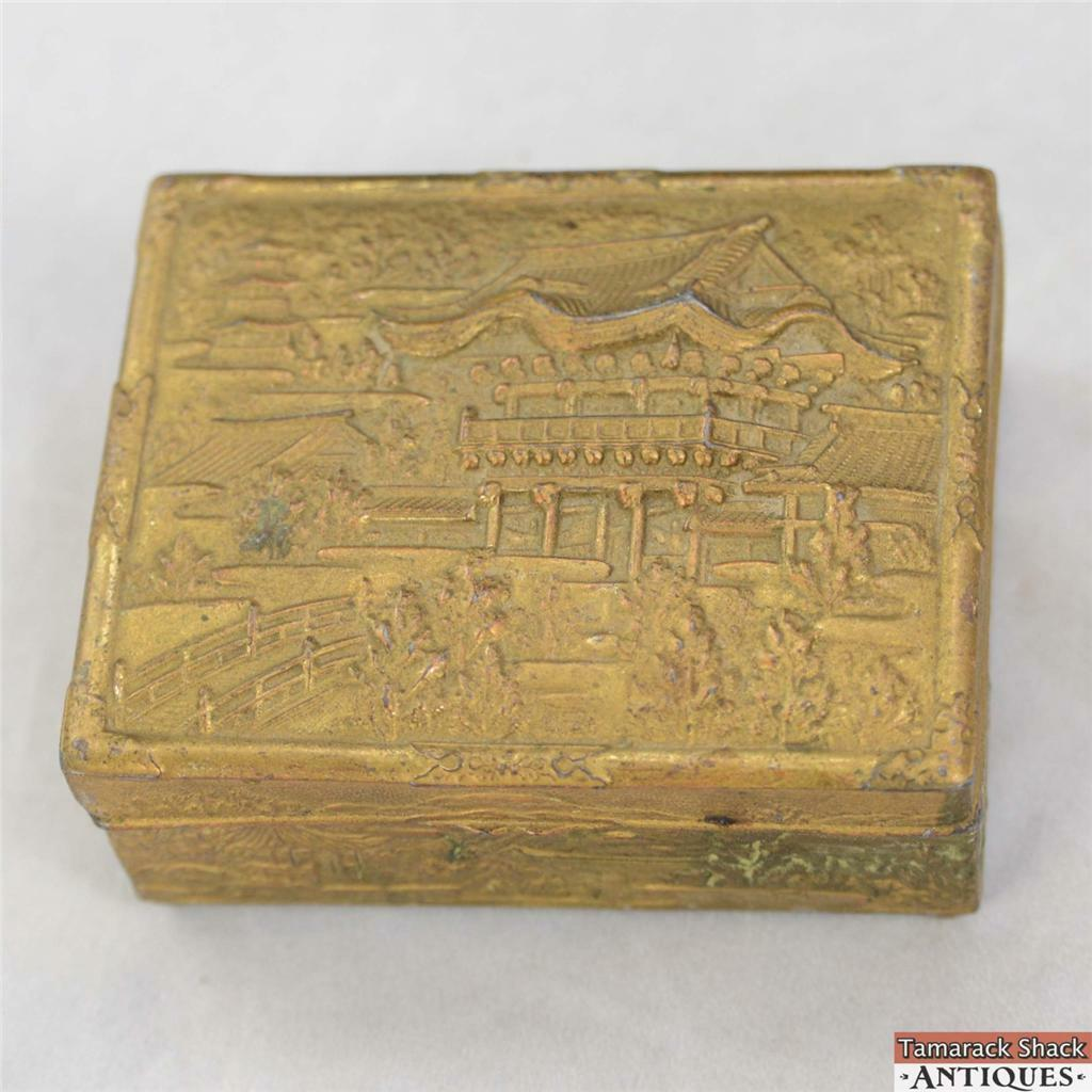 gold toned old pot metal hinged trinket box