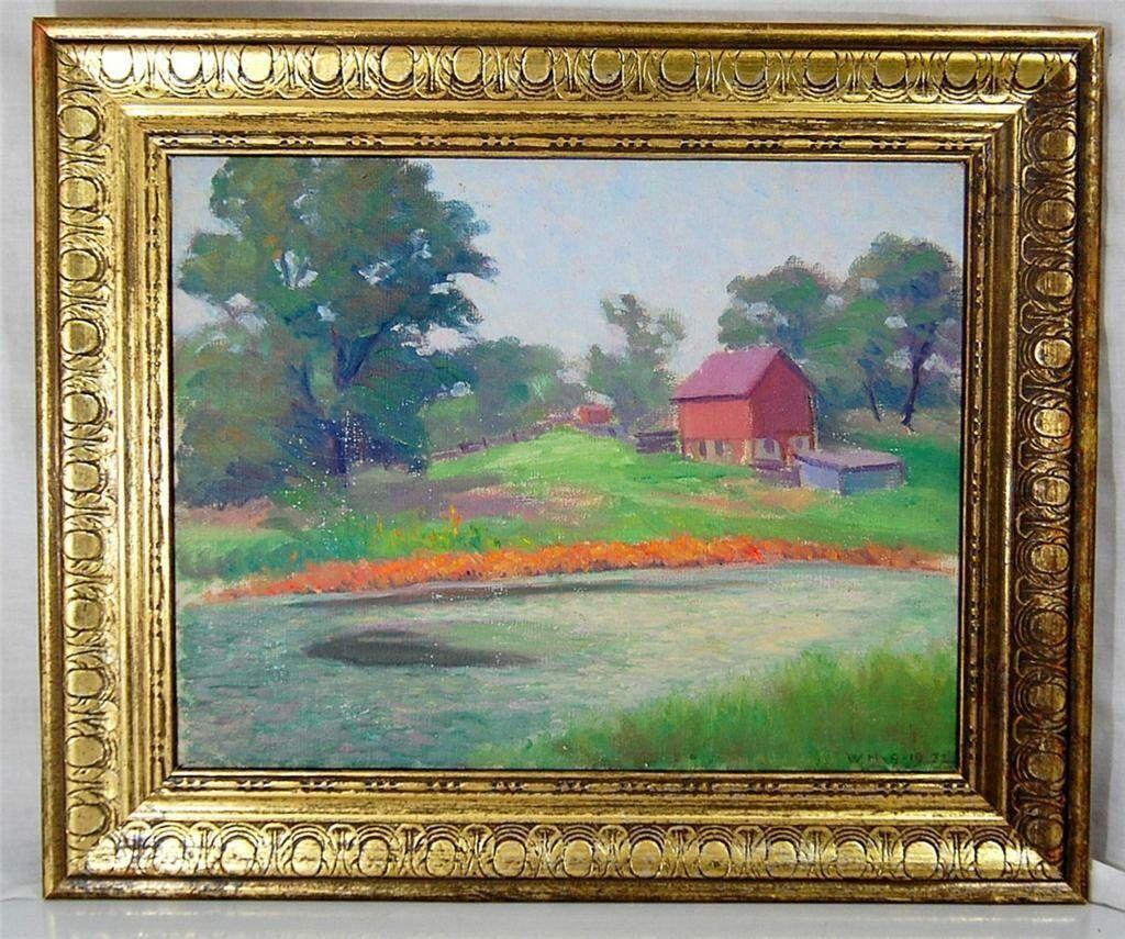 1932 Helmeke Oil Painting Depression Era Barn River Rural ...