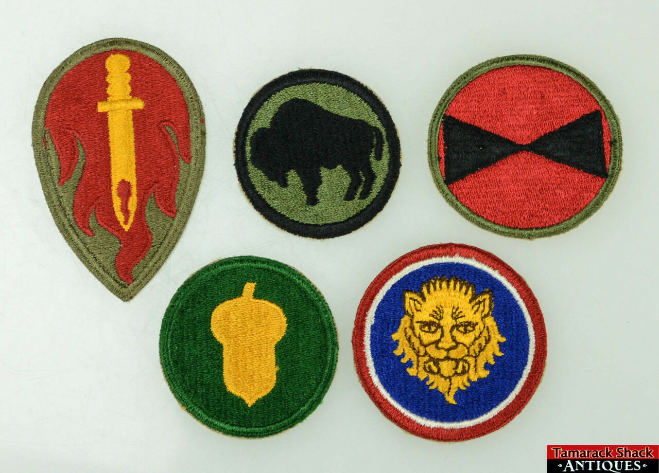5pc WWII US Army 92nd 106th 63rd 87th 7th Infantry Division Insignia Patches 092b7711309