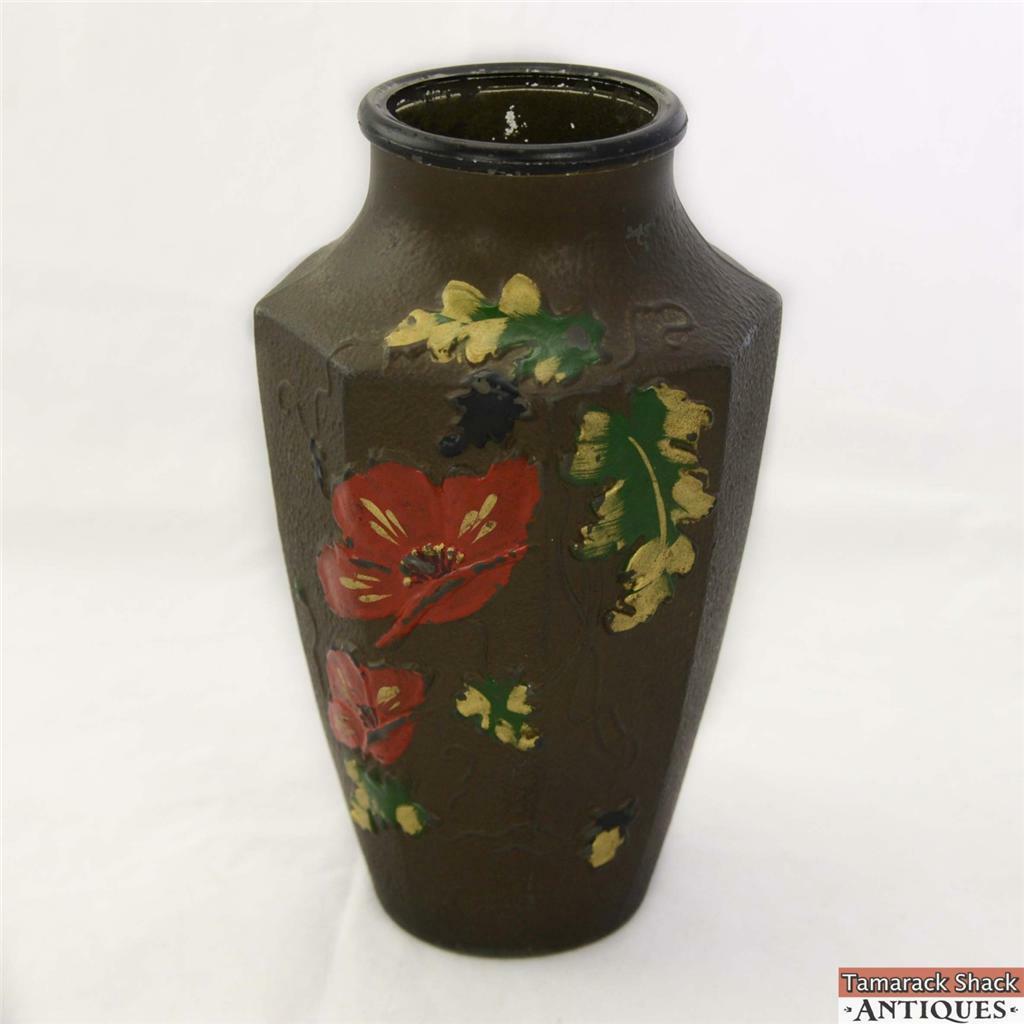 Red poppy spring black goofus glass vase indiana antique rare red poppy spring black goofus glass vase indiana antique reviewsmspy
