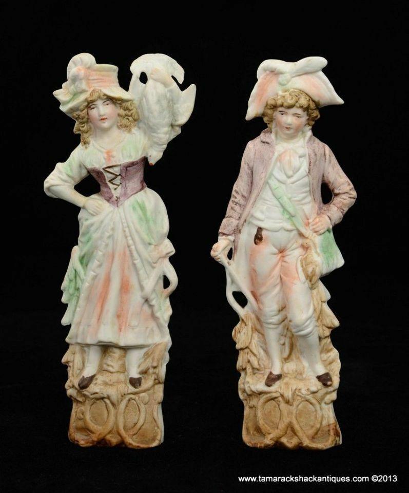 "Antique Pair Bisque Porcelain 10"" Figurines Germany ..."