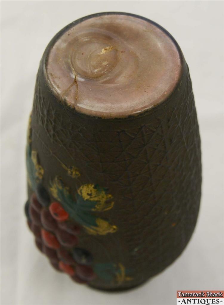 Grape Vine Crackle Goofus Glass Vase Intaglio Red Purple Antique