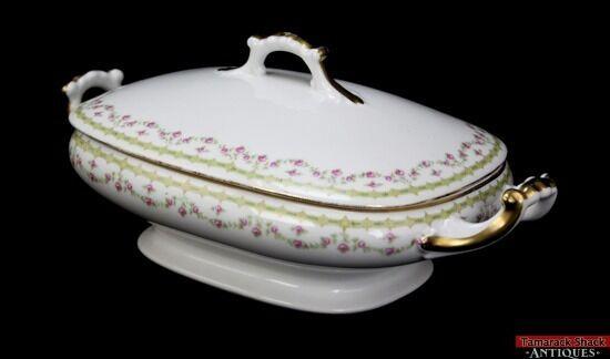 Vtg Vignaud Limoges France Rose Gild Handle Covered Rectangle Serving Dish  L4Y