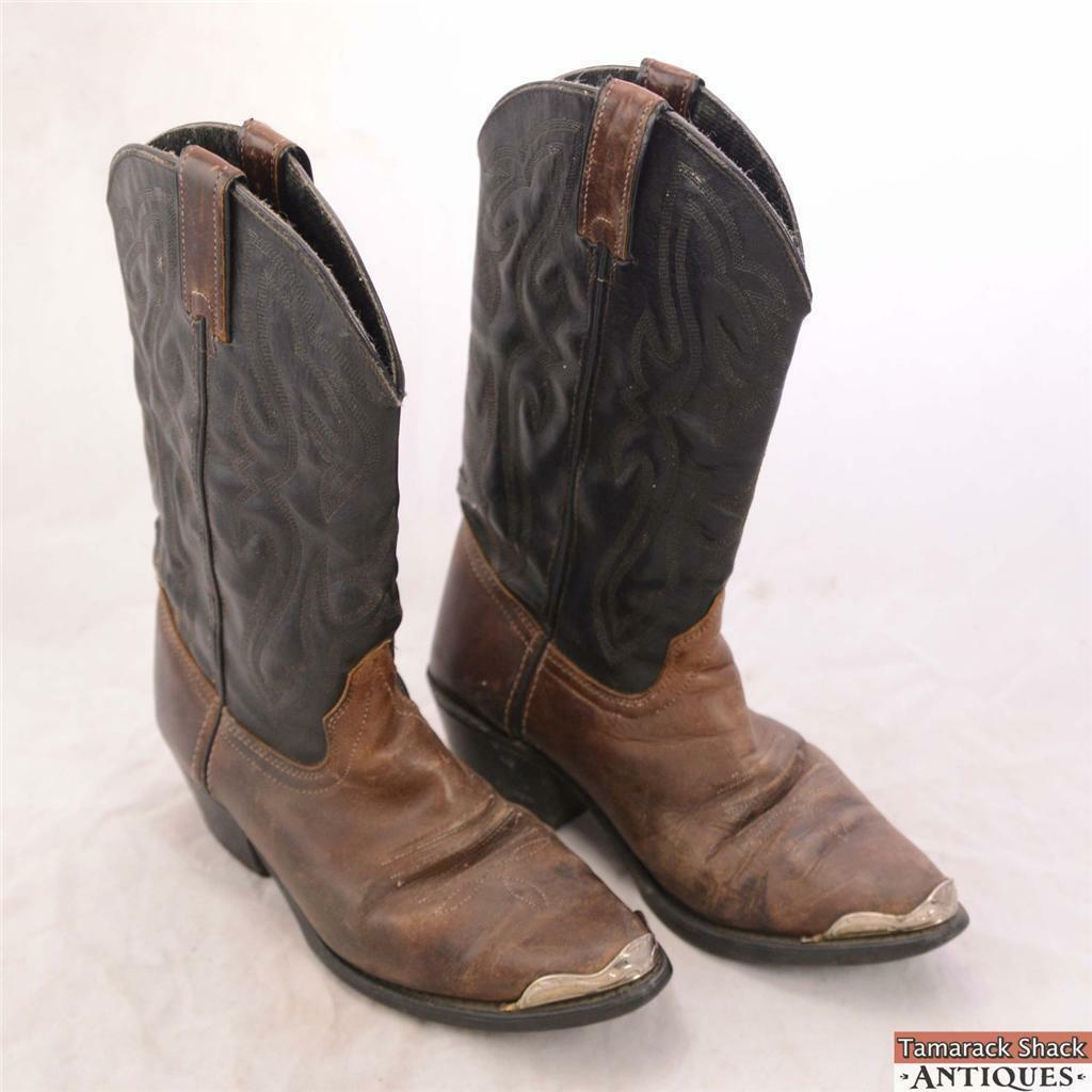 Vintage Biltrite Size 9 1 2 Cowboy Boots Black and Brown w  Silver ... 3a9c9f368