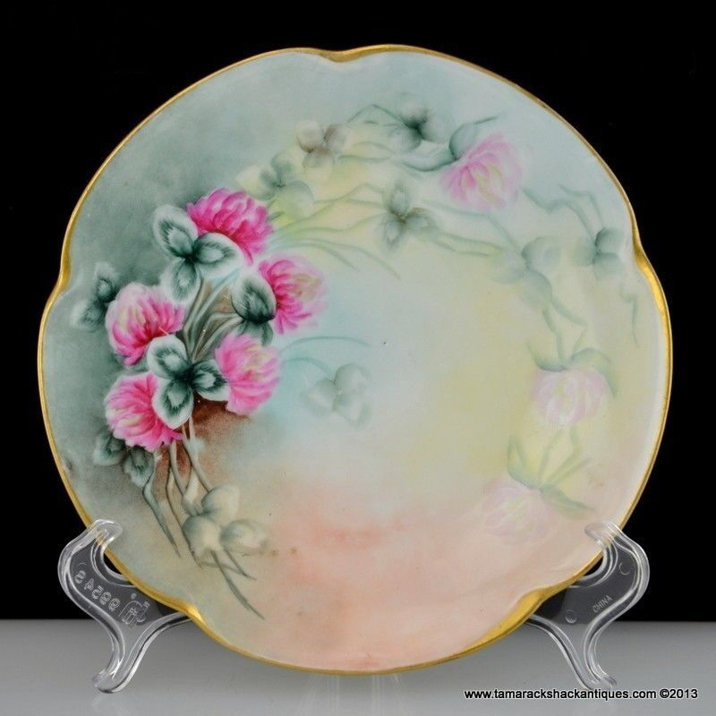 1907 J Amp C Louise Bavaria Hand Painted 7 Quot Plate Red Clovers