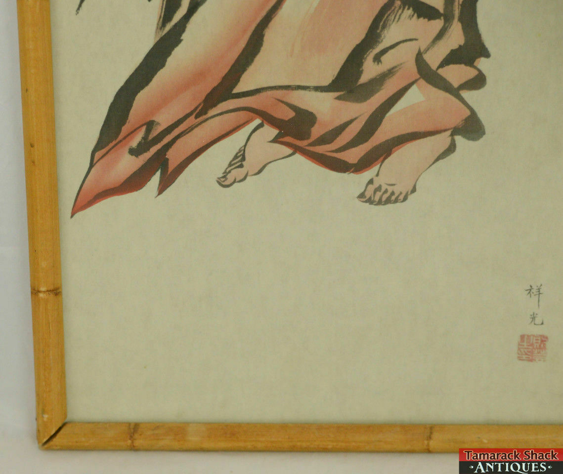 31-Framed-Chinese-Handpainted-Silk-Picture-Man-Wrapped-Red-Sheet-Seal-Stamp-L4X-291705446047-4.jpg