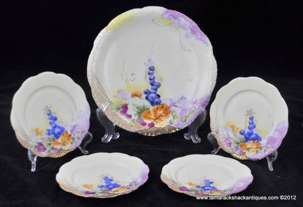 5 Pc Hand Painted Nippon Grape Leaves Charger Dessert Plate Set Cake Tray  Snack