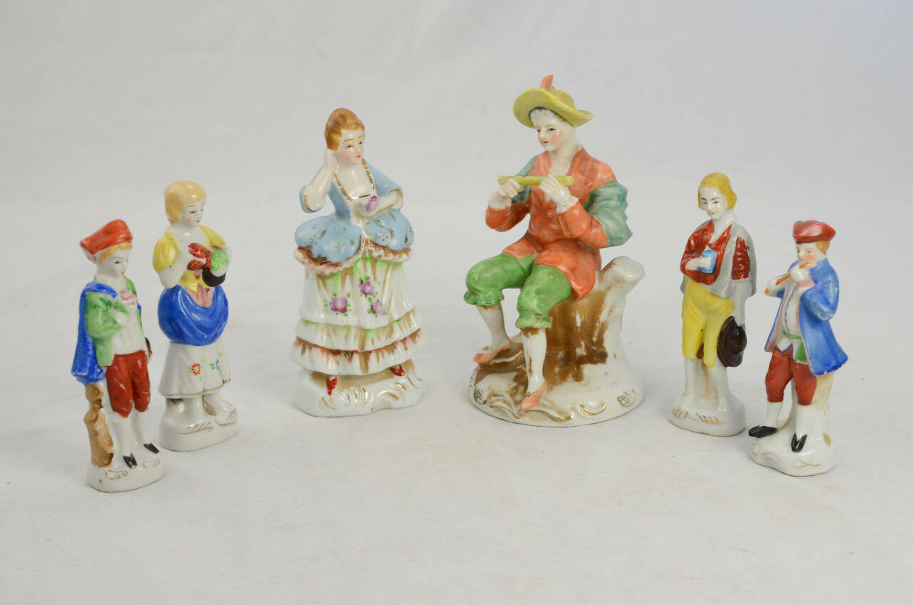 Lot of 6 Figurines Made in Occupied Japan Victorian Lady, Peasants,  Musicians