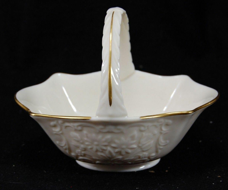 Flower Baskets Usa : Vtg lenox usa porcelain flower daisy basket gold mark