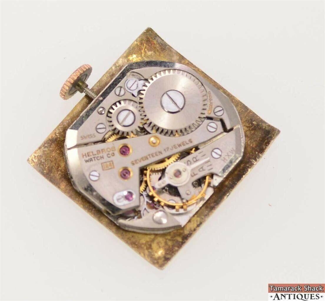 Watch wrist parts - Vintage Swiss Helbros 17j Model 124 Wrist Watch 10k Gold Filled Parts Or Repair Tamarack Shack Antiques