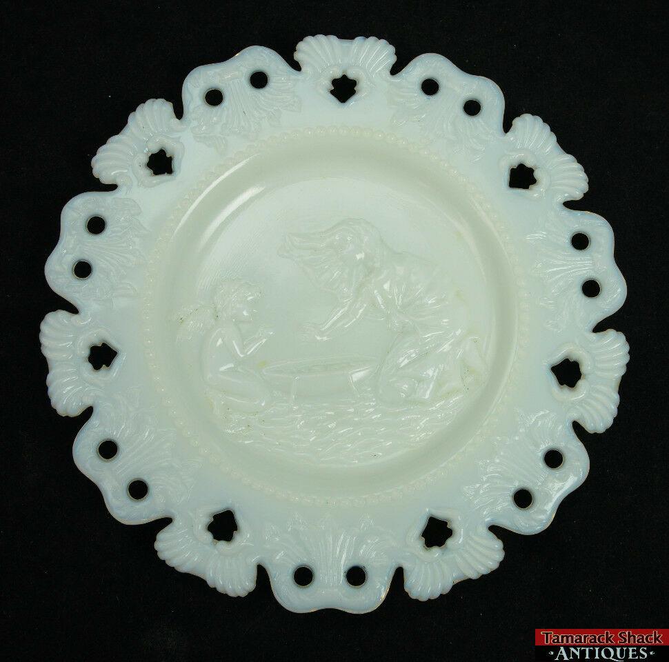 Kemple Girl Boy Silhouette Shell Club White Milk Glass 7 18 Plates 01