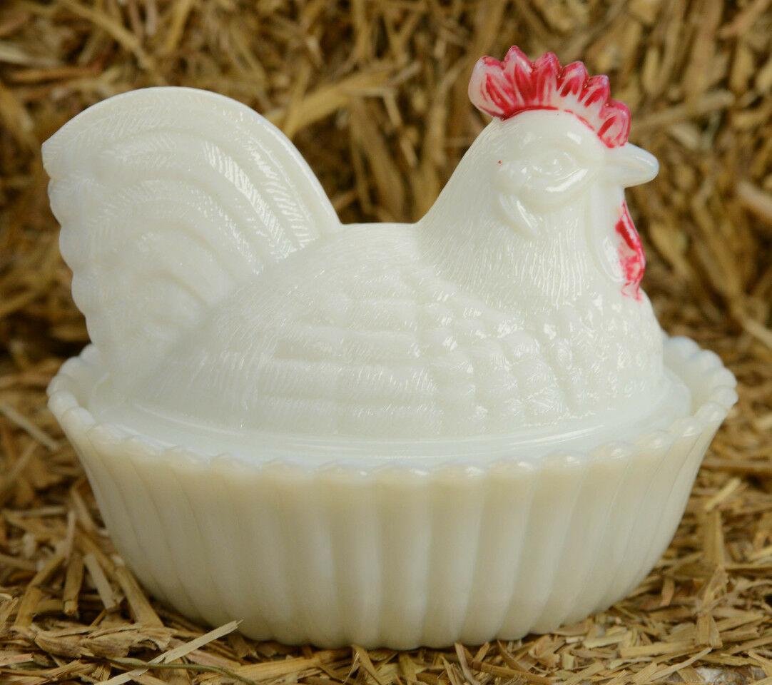 Westmoreland White Milk Glass Slag Glass Rooster Hen On Nest Dish Split Tail Tamarack Shack Antiques