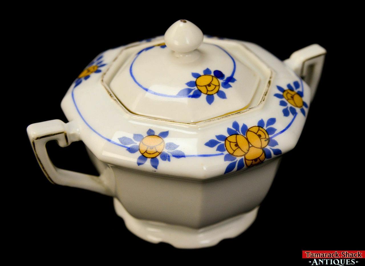 Antique Union T Czechoslovakia Vintage Floral Blue