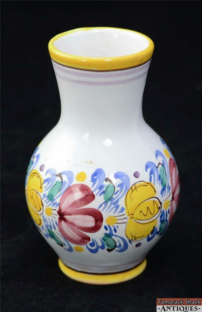 Czechoslovakian Modra Art Pottery Bud Vase Yellow Pink Flowers