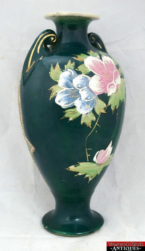 Satsuma Japanese Moriage Handled Tall Floral Green Vase Gilded