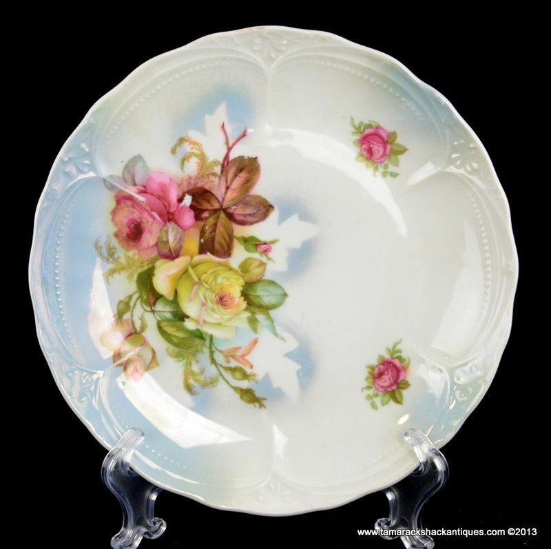 Three-Crown-China-8-58-Plate-Yellow-Pink-Roses-Iridescent-Blue-White-Germany-290876103958.jpg