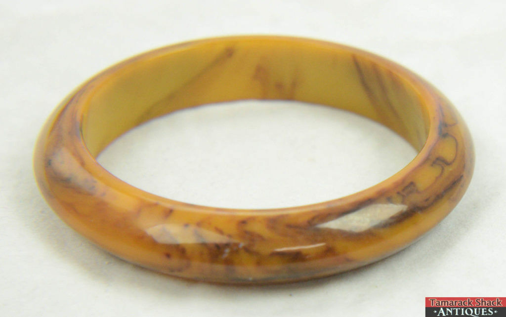 Retro, Vintage 1930s-1980s Beautiful Vintage Glass Bangle Bracelet Butterscotch Swirl Fashion Jewelry