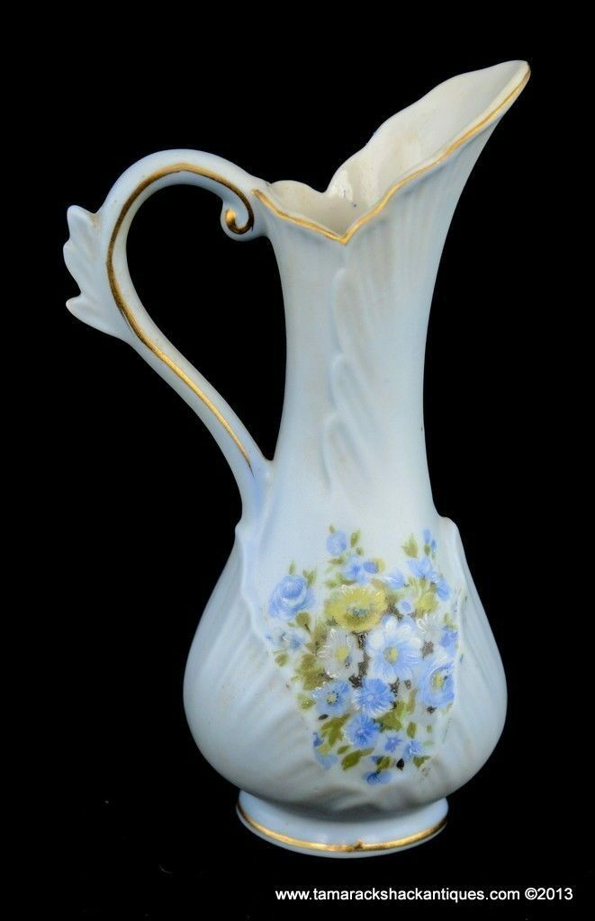 Hand Painted Lefton Blue Miniature Pitcher Gilded Blue