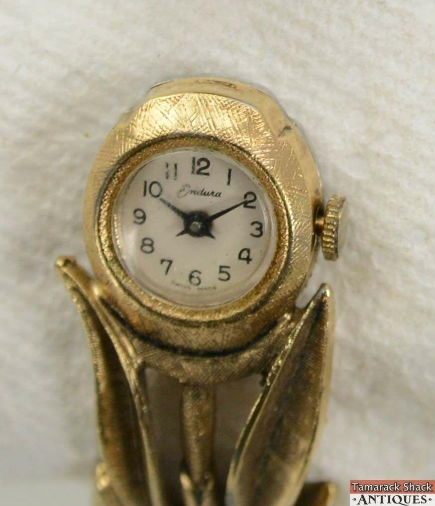 Watch wrist parts - Vintage Endura Ladies Wrist Watch For Parts Repair Rose Hinged Bangle Bracelet Tamarack Shack Antiques