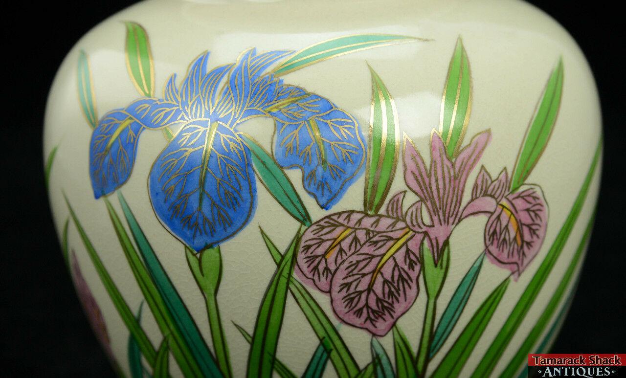 Vintage Hand Painted Off White Japanese 7 12 Vase Blue Pink Iris